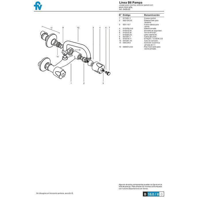 Despiece-Griferia-Fv-Pampa-409-B6-B6